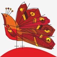 Ilustracion vectorial, Pavo real Rojo